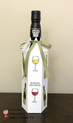 Use the new Stampin' Blends Markers to make this easy wine bottle cover, so you can bring the prettiest bottle to the party!