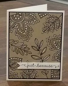 So Beautiful! New Lighthearted Leaves set with white gel pen (holiday 2015 Stampin Up catalog). This set has matching framelits dies too!!!