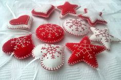 Felt christmas ornaments - set of 10 heart, star, snowflake traditional ornaments white and red / wool blend felt