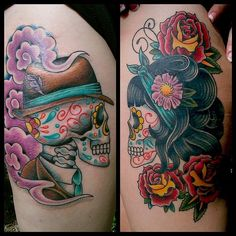male and female sugar skull tattoos - Google Search