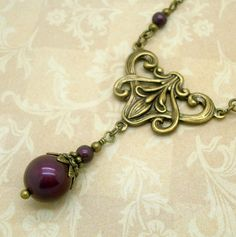 Art Nouveau Necklace Handmade Vintage Inspired by CloudCapJewelry