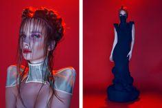 seductive couture - HMM model Michaela dons seductive couture staples for Glassbook Magazine's 'Crimson & Clover' editorial. Glass Book, Metal Fashion, Future Fashion, Chanel, Creative Inspiration, My Images, Editorial Fashion, Fashion Models, My Design