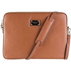 Pre-owned Michael By Michael Kors New Leather Laptop Macbook Pro... ($125) ❤ liked on Polyvore featuring bags, luggage camel tan, macbook pro laptop bag, genuine leather laptop bag, print bags, pattern laptop bag and leather bags