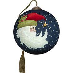 Precious Moments, Ne'Qwa Art Hand Painted Blown Glass Petite Round Shaped Joyeux Noel Ornament