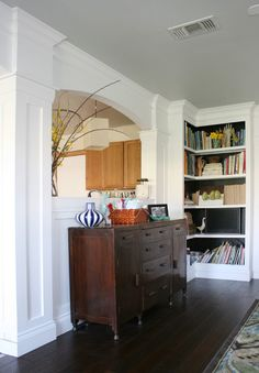 more paneling and trim work around archway. Remodelaholic   My Living Room, Finished or Not!