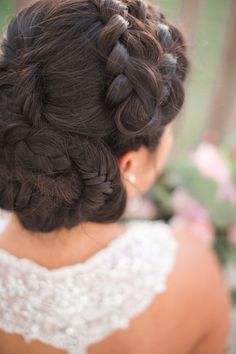 Braided Bridal Hairstyle | Andrew and Tianna Photography on @artfullywed via @aislesociety