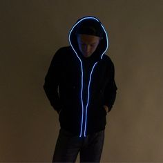 Light Up Hoodie - White - Electric Styles Light Up Clothes, Light Up Shoes, Festival Gear, Festival Outfits, Sweat Shirt, Mens Rave Outfits, Light Up Hoodie, Burning Man 2015, Burning Man Outfits