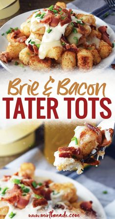 Bacon and Brie Tater Tots - Tater tots taken to the next level with melted brie and crisp bacon perfect for brunch, a party or a weekend snack.  Loaded Tater Tots | Tater Tots Recipe | Tater Tots Side Dish | Tater Tots Appetizer