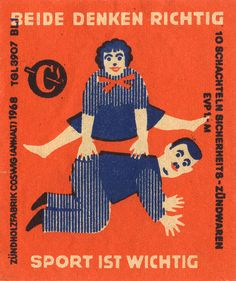 german matchbox label ... Hitler enjoyed playing leapfrog and growing prepubescent facial hair in his youth