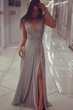 Grey Prom Dress,Chiffon Prom Dress with Beading,Prom Dress with Slit – Simidress