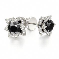 Black Diamond Lotus Earrings