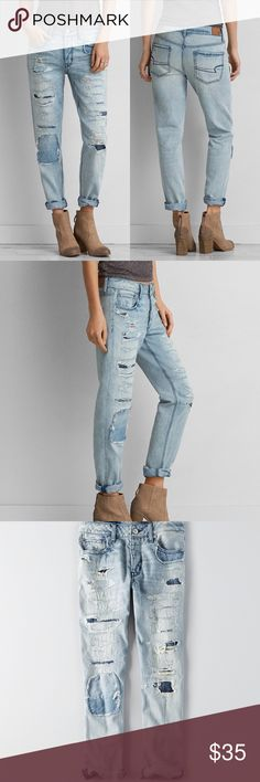 AEO Boyfriend Jeans -Sits low on hips -Relaxed and tampered fit -Imported -Destroyed look -99% cotton, 1% elastane -machine wash -NOT Urban Outfitters, used for exposure -From American Eagle Urban Outfitters Jeans Boyfriend