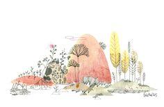 (idea para frutos de la tierra +++ fiestas) Aquarela + tinta (monde42, aquarelle, Cécile Hudrisier)