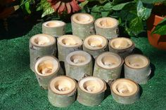 14 Natural Rustic Aspen Log Candle holders Wedding Decor by Sarqit