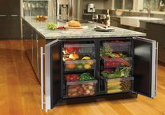 """U Line 3036RR 36"""" Undercounter All-Refrigerator with 6.8 cu. ft. Capacity, 6 Removable Drawer Bins, Dual Zone Convection Cooling, LED Lighti..."""