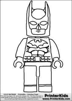 lego batman front view coloring page - Coloring Pages Lego Superheroes