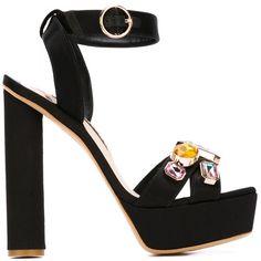 SOPHIA WEBSTER 'Amanda' platform sandals (6795 MAD) ❤ liked on Polyvore featuring shoes, sandals, wedge heel sandals, black shoes, black wedge shoes, wedge sandals et wedges shoes