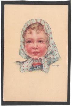 🌺Cartolina Bambina con Foulard Illustratore Mariapia