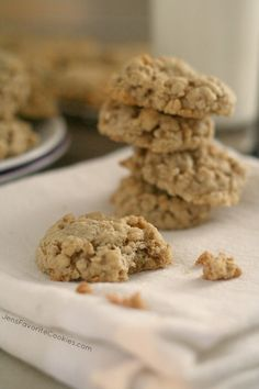Plain Oatmeal Cookies from Jen's Favorite Cookies. Ingredients: butter, sugar, brown sugar, eggs, vanilla, salt, baking soda, cinnamon, flour, oats