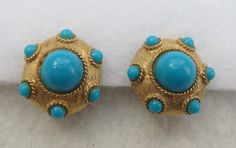 Gold tone dome clip on earrings with faux turquoises by Framarines on Etsy