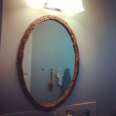 Rope mirror DIY in my bathroom. #DavenportRanch