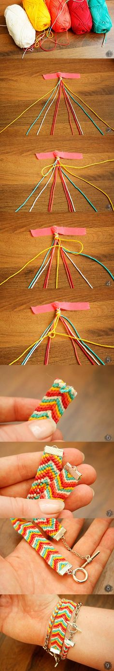 #DIY #PAP Modelo espinha da pulseira da amizade - feito com fio de algodão e terminal de aperto (fica bonito)-  Estação Riachuelo