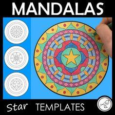Mandala Templates – Design a mandala pattern – STARS in the centre Star Template, Templates, What Is A Mandala, Rotational Symmetry, Symmetry Art, Spiritual Symbols, Teacher Notes, Shape Art, Letter Size Paper