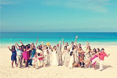 Photo of family and guests at a Destination Wedding - Hard Rock Hotel and Casino Punta Cana - OurStoryOurSong.com/blog #Renaissance Photography
