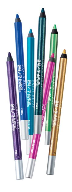 Bright options to achieve the colored cat look! Urban Decay 24-7 Glide On Eye Pencils