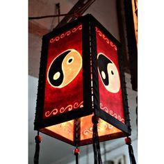 Zen hanging lamp lighting, Wood pendant lamp shade, Hanging lantern, Chinese lantern, Paper lampshade home decor garden decor Yin Yang HA33