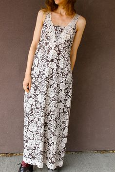 Vintage 1970's Cotton BOHO Sun Dress MAXI Brown and Cream Floral