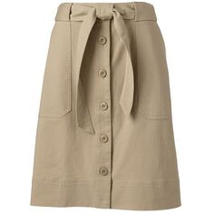 Lands' End Women's Petite Chino A-line Button Front Skirt ($59) ❤ liked on Polyvore featuring skirts, brown, a-line skirt, brown a line skirt, knee length a line skirt, pocket skirt and button front a line skirt