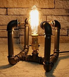 Industrial Vintage Cube Desk Light Bed / Table Lamp / Steampunk Victorian Effect