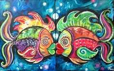 Fish Painting Whimsical Original Art Acrylic On 16 X 20 Canvas Ready To Ship PTG00011