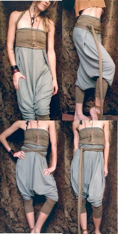 On the weird side - these are cool:    harem pants / romper. organic cotton/ hemp fabric. hand dyed colors. 'made to order'. $144.00, via Etsy.