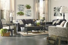 Ideas of Simple Ashley Furniture Living Room Sets With Black Sofa Sets And Flower Wallpaper Design 3 Piece Living Room Set, Living Room Sets, Living Room Designs, Living Area, Casual Living Rooms, Colourful Living Room, Cool Furniture, Furniture Design, Grey Furniture