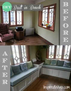 DIY Built in Bench - completely transforms the space! This is what we need for the sunroom except with drawers for storage - Fox Home Design Window Benches, Window Seats, Bay Window, Diy Home Decor, Room Decor, Up House, Tiny House, Built In Bench, My Living Room