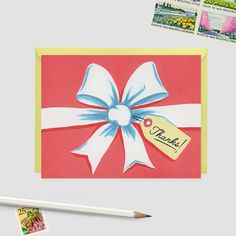 A boxed set of thank you cards featuring a hand painted bow design with a vintage feel. Each card comes with your choice of pastel yellow or
