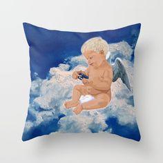 Little Angel And Blue Phone Box Throw pillow case #Pillow #PillowCase #PillowCover #CostumPillow #Cushion #CushionCase #PersonalizedPillow #angel #littleangel #phonebox #bluephonebox #tardis #starrynight #cloud #sky #artpainting