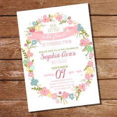 Wild Flower Party Invitation Floral Invitation by SunshineParties 1st Birthday Girls, First Birthday Parties, First Birthdays, Frozen Birthday, Flower Party Themes, Flower Invitation, Invitation Cards, Mask Party, Party Party