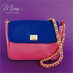 Bolsa modelo beijinho em azul e Rosa Pink  ️️Crie a sua pelo site ➡️️️️️️www.mimsbags.com #bolsadecouro #bolsa #criesuabolsa