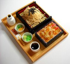 Miniature Japanese Cold Soba Noodles with Fixings and Shrimp Tempura