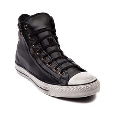 Shop for Converse All Star Hi Leather Zip Athletic Shoe in Black at Journeys Shoes. Shop today for the hottest brands in mens shoes and womens shoes at Journeys.com.Scuffed Chucks always look way sweeter. Cut to the chase with the Converse All Star Hi Leather Zip, featuring none other than a leather upper, diagonal side zipper, and rubber sole with worn-in scuff markings. Available only online at Journeys.com and SHIbyJourneys.com! Available for shipment in November; pre-order yours…