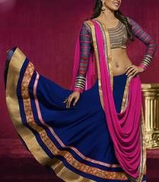 Buy Blue and Pink embroidered Georgette  lehenga-choli ghagra-choli online