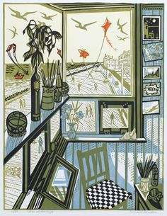 "Would personally rather have an art study with views of the coast like this one, than a man cave with a flat screen. [Richard Bawden Linocut ""Kites at Aldeburgh""] Illustrations, Illustration Art, Linocut Prints, Art Prints, Block Prints, Design Graphique, Woodblock Print, Kite, Making Ideas"