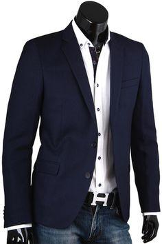 Купить Строгий мужской пиджак под джинсы синего цвета фото недорого в Москве