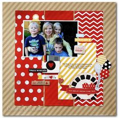 This fun layout used products from the Simple Stories Say Cheese collection. Created by Simple Stories design team.