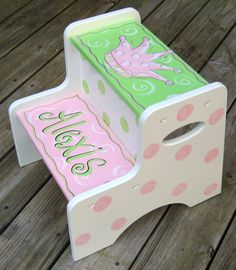 Hand Painted Girls Step Stool by SassyfrasDesignz on Etsy, $79.99