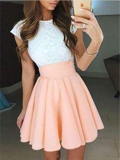 A-line Cap-Sleeveless Scoop Neck Homecoming Dresses,Back to School Dresses ASD2550