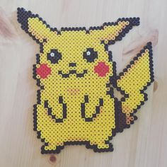 Pikachu perler beads by imakeperlersoidontkillpeople More
